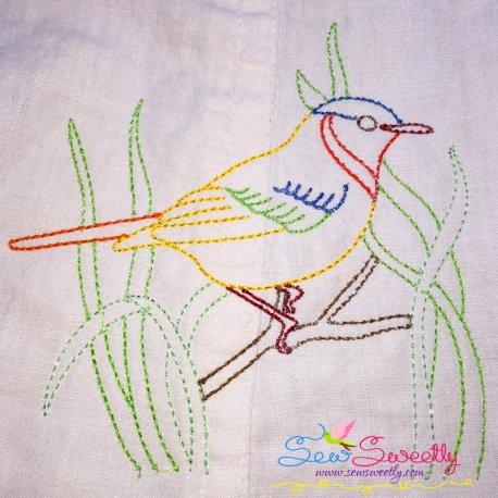 Colorful Vintage Redwork Bird-4 Machine Embroidery Design