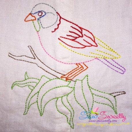 Colorful Vintage Redwork Stitch Bird-6 Machine Embroidery Design