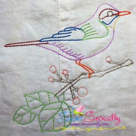 Colorful Vintage Bird-7 In Redwork Stitch Machine Embroidery Design
