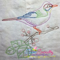 Colorful Vintage Bird-7 Embroidery Design
