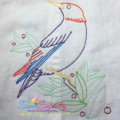 Colorful Vintage Bird-8 In Redwork Stitch Machine Embroidery Design