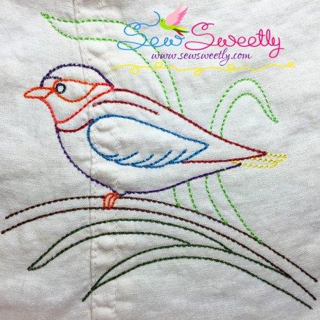 Colorful Vintage Redwork Bird-3 Machine Embroidery Design