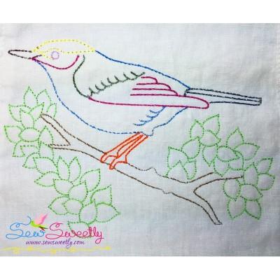 Colorful Vintage Redwork Stitch Bird-5 Machine Embroidery Design