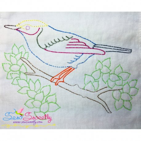 Colorful Vintage Redwork Stitch Bird-5 Machine Embroidery Design