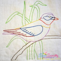 Colorful Vintage Bird-9 Embroidery Design
