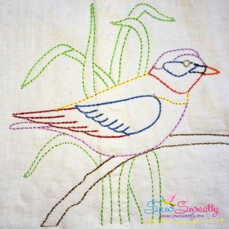 Colorful Vintage Bird-9 In Redwork Stitch Machine Embroidery Design