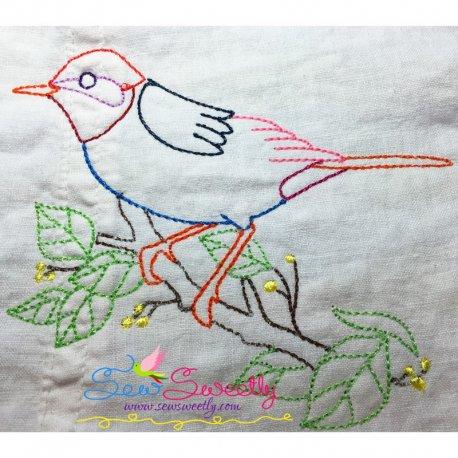 Colorful Vintage Bird-10 In Redwork Stitch Machine Embroidery Design