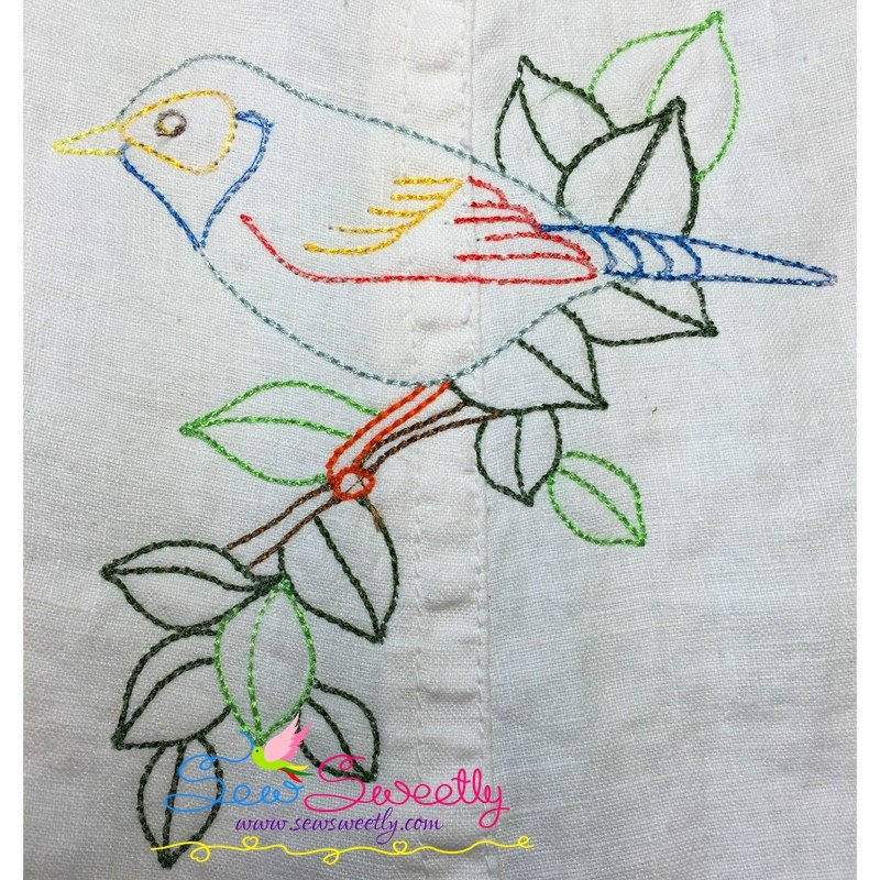 Colorful vintage birds in redwork stitch embroidery design