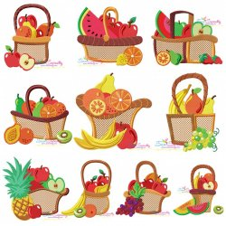 Colorful Fruit Baskets Embroidery Design Bundle