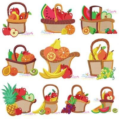 Colorful Fruit Baskets Embroidery Design Bundle