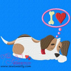 Beagle Dog Dreaming Embroidery Design