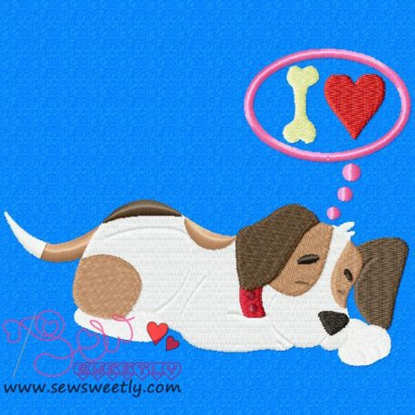 Beagle Dog Dreaming Embroidery Design Pattern- Category- Animals Designs- 1