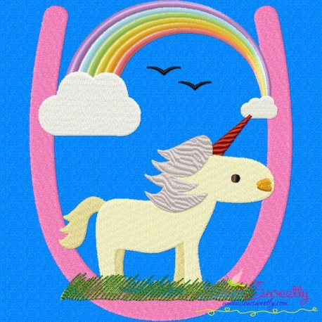 Animal Letter-U- Unicorn Machine Embroidery Design For Kids