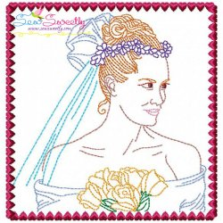 Multi Color Vintage Stitch Bride-8 Embroidery Design