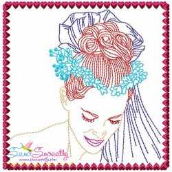 Multi Color Vintage Stitch Bride-6 Embroidery Design