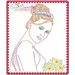 Multi Color Vintage Redwork Bean Stitch Bride-4 Machine Embroidery Design For Pillows And Bride And Groom Projects