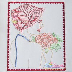 Multi Color Vintage Redwork Bean Stitch Bride-3 Machine Embroidery Design For Pillows And Bride And Groom Projects