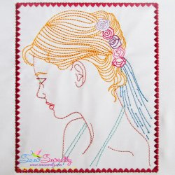 Multi Color Vintage Redwork Bean Stitch Bride-2 Machine Embroidery Design For Pillows And Bride And Groom Projects