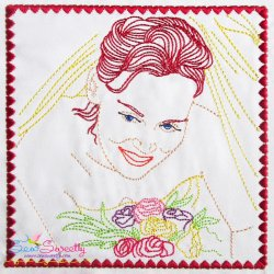Multi Color Vintage Redwork Bean Stitch Bride-1 Machine Embroidery Design For Pillows And Bride And Groom Projects