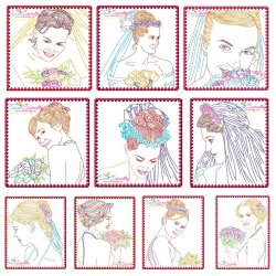 Multi Color Vintage Stitch Brides Embroidery Design Bundle