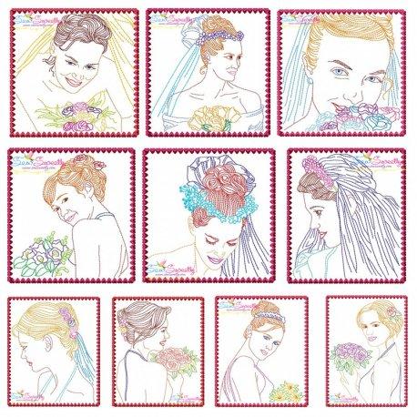 Multi Color Vintage Stitch Brides Embroidery Design Bundle Pattern- Category- Embroidery Design Bundles- 1
