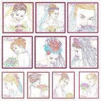 Multi Color Vintage Stitch Brides Embroidery Design Bundle