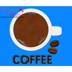Coffee Cup Applique Design