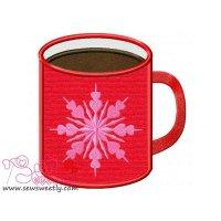 Red Coffee Mug Applique Design