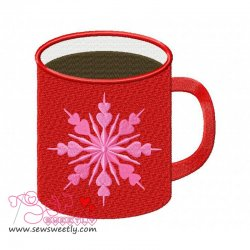 Red Coffee Mug Embroidery Design