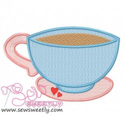 Beautiful Tea Cup Embroidery Design