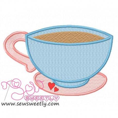 Beautiful Tea Cup Embroidery Design