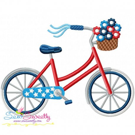 4th of July Bicycle Patriotic Embroidery Design