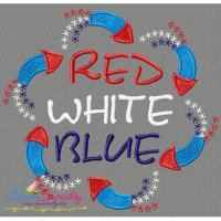 Red White Blue Embroidery Design