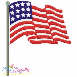 American Flag Patriotic Machine Embroidery Design For 4th of July