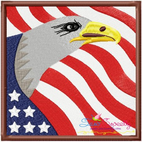 4th of July Eagle With Flag Patriotic Machine Embroidery Design For 4th Of July