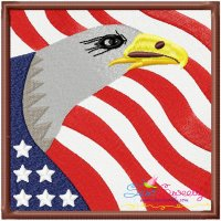 4th of July Eagle With Flag Embroidery Design