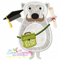 Animal Student-3 Applique Design For Back To School