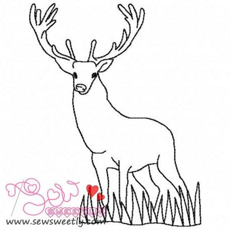 Deer Outline-1 Machine Embroidery Design For Kids