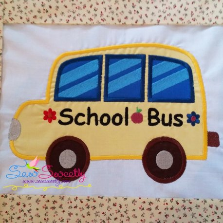 School Bus Machine Applique Design For Back To School