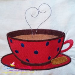 Red Tea Cup Embroidery Design