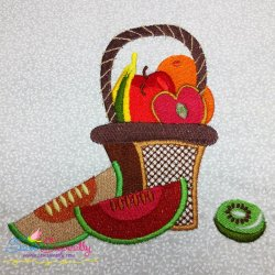 Colorful Fruit Basket-3 Embroidery Design