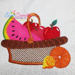 Colorful Fruit Basket-2 Embroidery Design