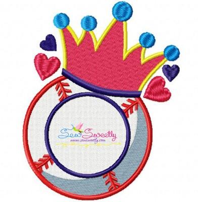 Baseball Crown Monogram Embroidery Design