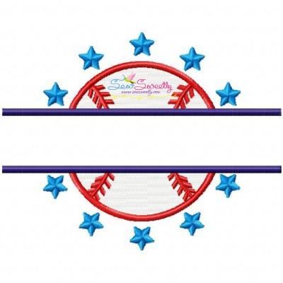 Baseball Split Embroidery Design