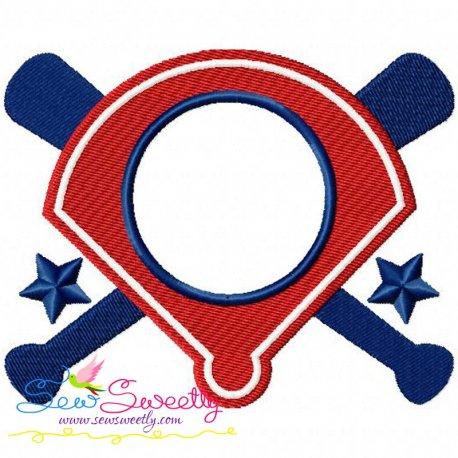 Baseball Diamond Monogram Machine Embroidery Design
