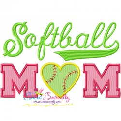 Softball Mom Embroidery Design