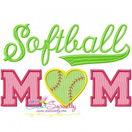 Softball Mom Machine Embroidery Design