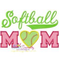 Softball Mom Embroidery Design