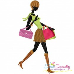 Shopping Lady-6 Machine Embroidery Design Best For Handbags