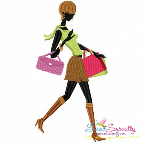 Shopping Lady-6 Embroidery Design Pattern- Category- Other Designs- 1
